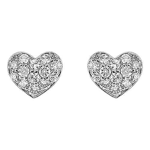 Photo de Boucles d'oreilles coeurs zirconium  - Puces - Or blanc 9ct