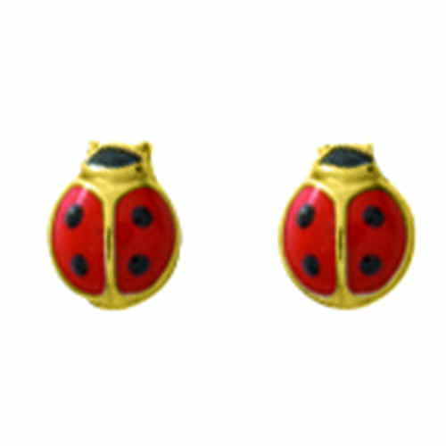Photo de Boucles d'oreilles Coccinelles - Vis - Or jaune 9ct