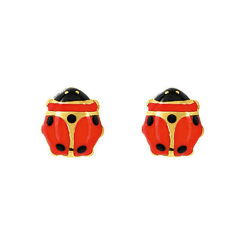 Photo de Boucles d'oreilles Coccinelle - Vis - Or jaune 9ct