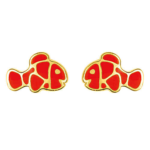 Photo de Boucles d'oreilles Poisson - Vis - Or jaune 9ct