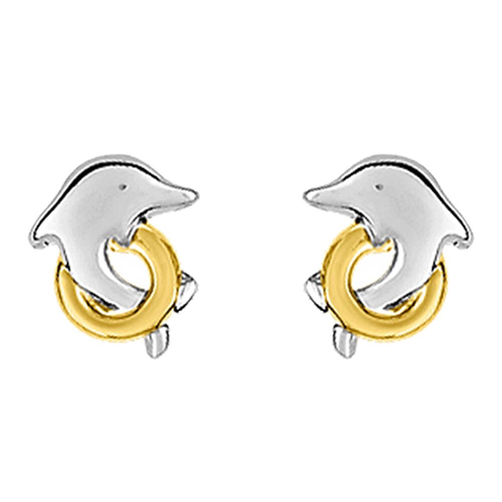 Photo de Boucles d'oreilles Dauphins Bicolore - Vis - Or blanc et jaune 9ct