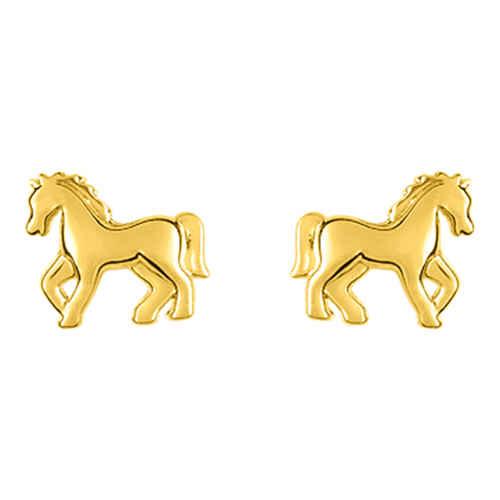 Photo de Boucles d'oreilles cheval - Vis - Or jaune 9ct