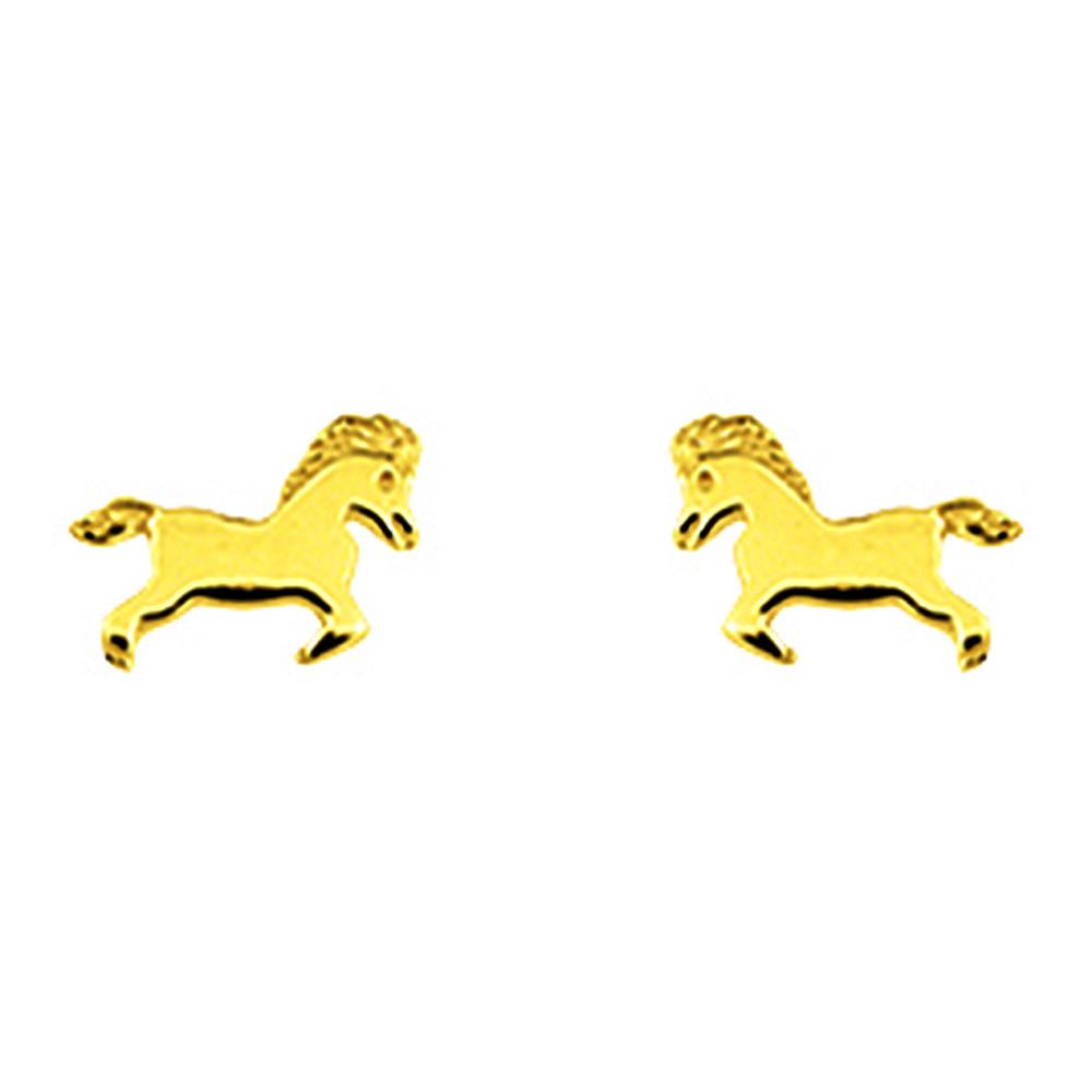 Photo de Boucles d'oreilles chevaux - Puces - Or jaune 9ct