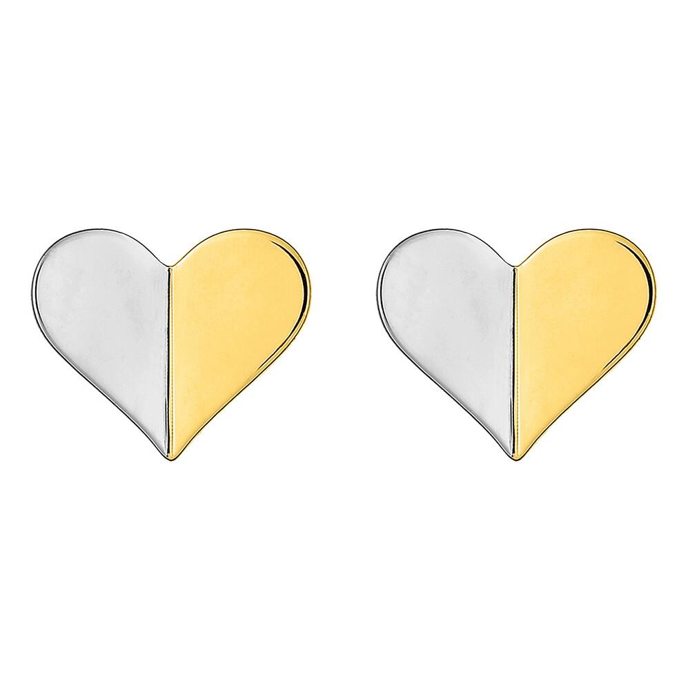 Photo de Boucles d'oreilles Coeurs - Puces  - Or jaune et or blanc 9ct