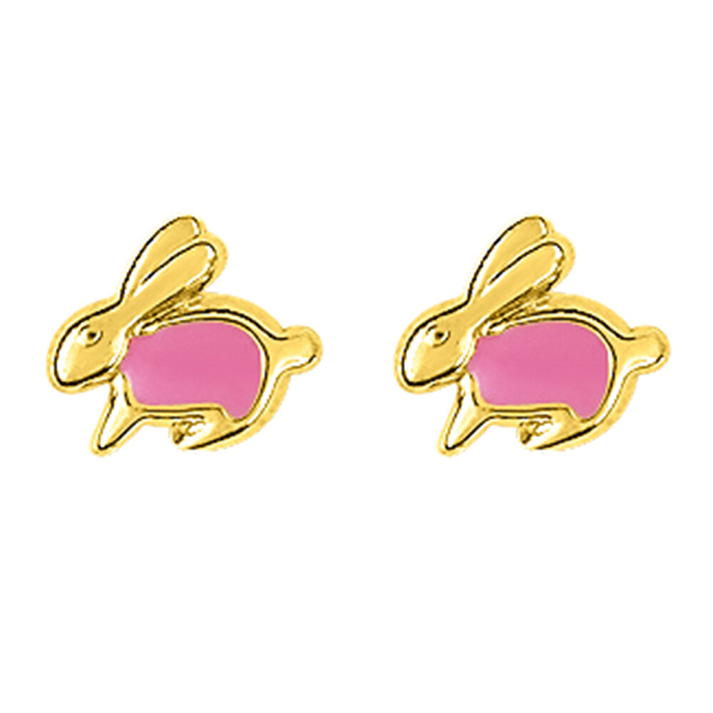 Photo de Boucles d'oreilles lapins - Vis - Or jaune 9ct