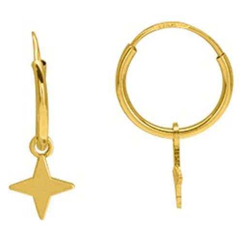 Photo de Boucles d'oreilles étoiles - créoles - Or jaune 9ct