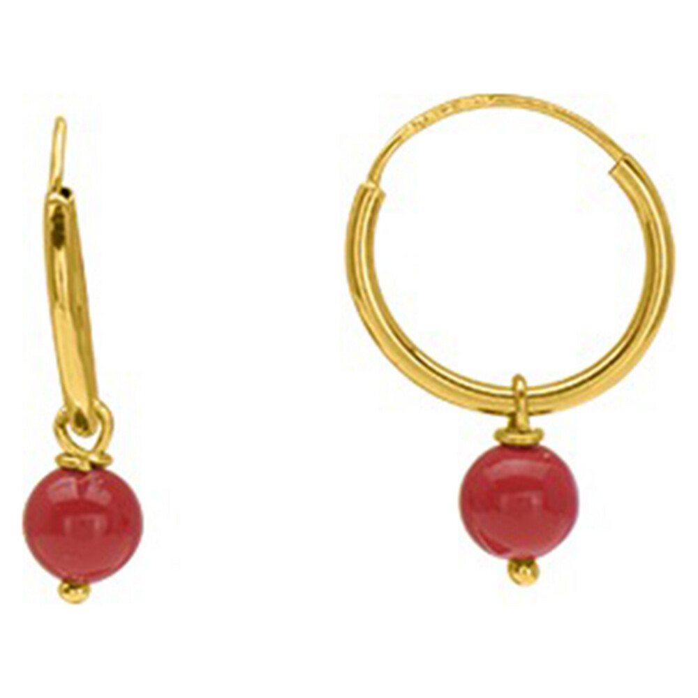 Photo de Boucles d'oreilles Perles rouge - créoles - Or jaune 9ct