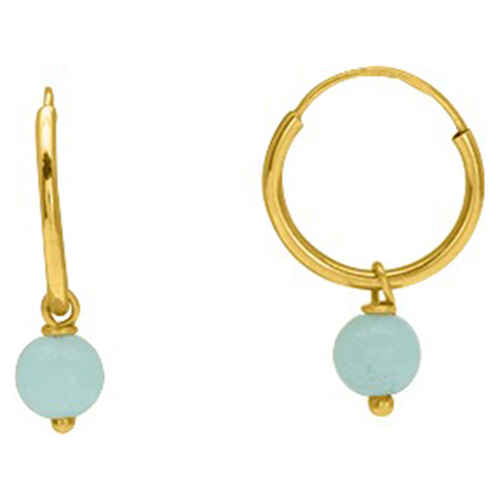 Photo de Boucles d'oreilles Perles verte - créoles - Or jaune 9ct