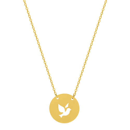 Photo de Collier chaine & médaille colombe ajourée - Or jaune 9ct