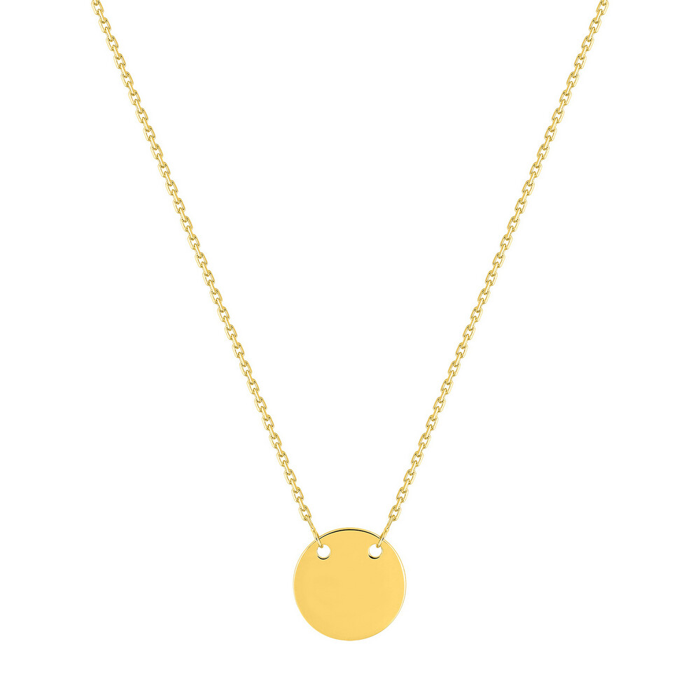 Photo de Collier chaine & médaille ronde - Or jaune 9ct