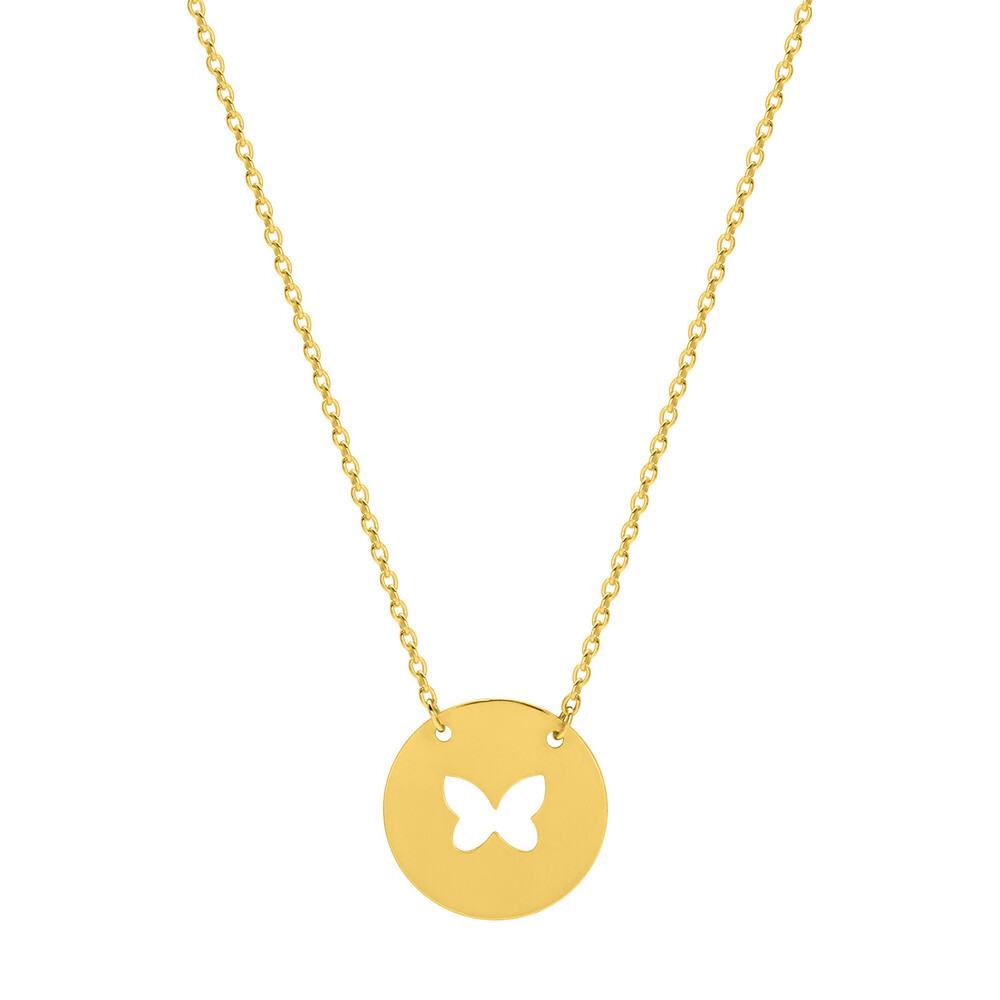 Photo de Collier chaine & médaille papillon ajourée - Or jaune 9ct