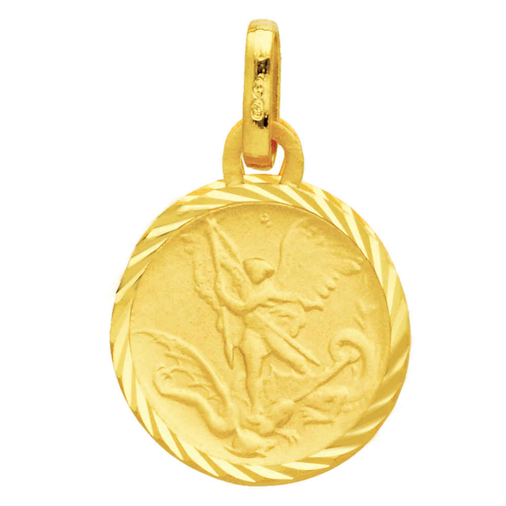 Photo de Médaille Saint- Michel bords striés - Or jaune 18ct