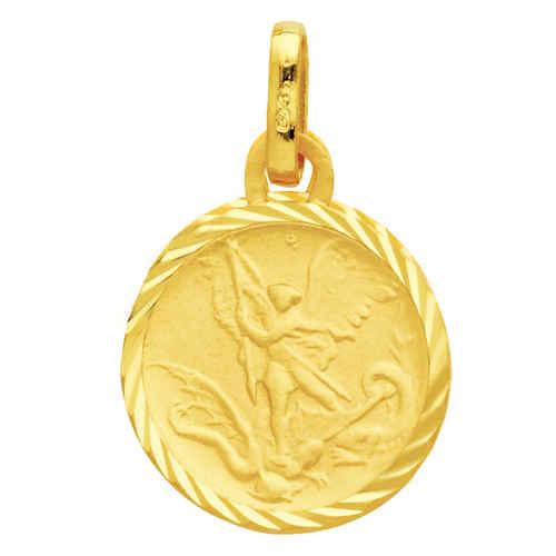 Photo de Médaille Saint- Michel bords striés - Or jaune 18ct