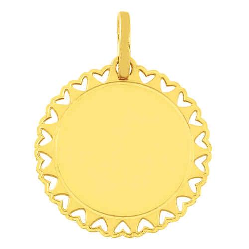 Photo de Pendentif dentelles coeurs - Or jaune 18ct