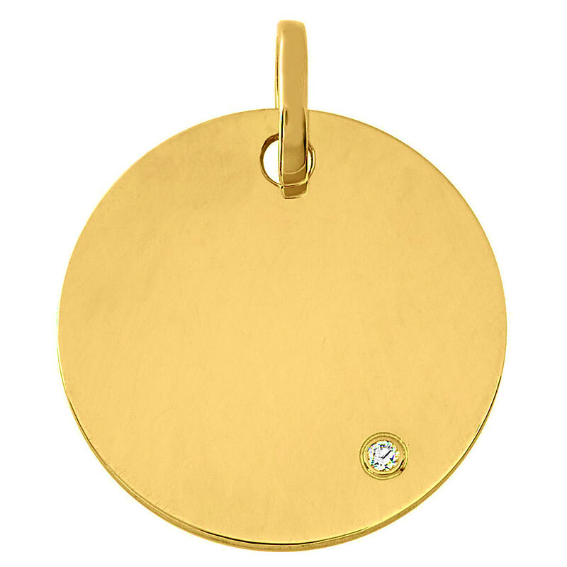 Photo de Médaille ronde - diamant & or jaune 9ct