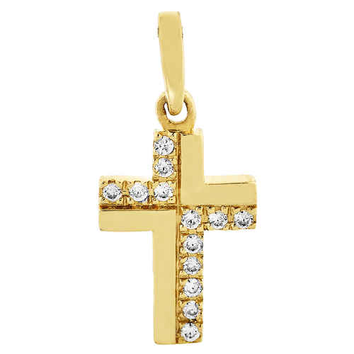 Photo de Croix aux 13 diamants - Or jaune 18ct