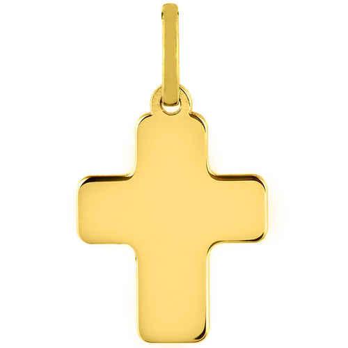 Photo de Croix bords ronds personnalisée - Or jaune 18ct