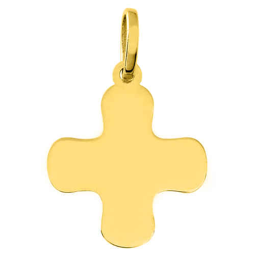 Photo de Croix bords ronds personnalisée - Or jaune 18ct