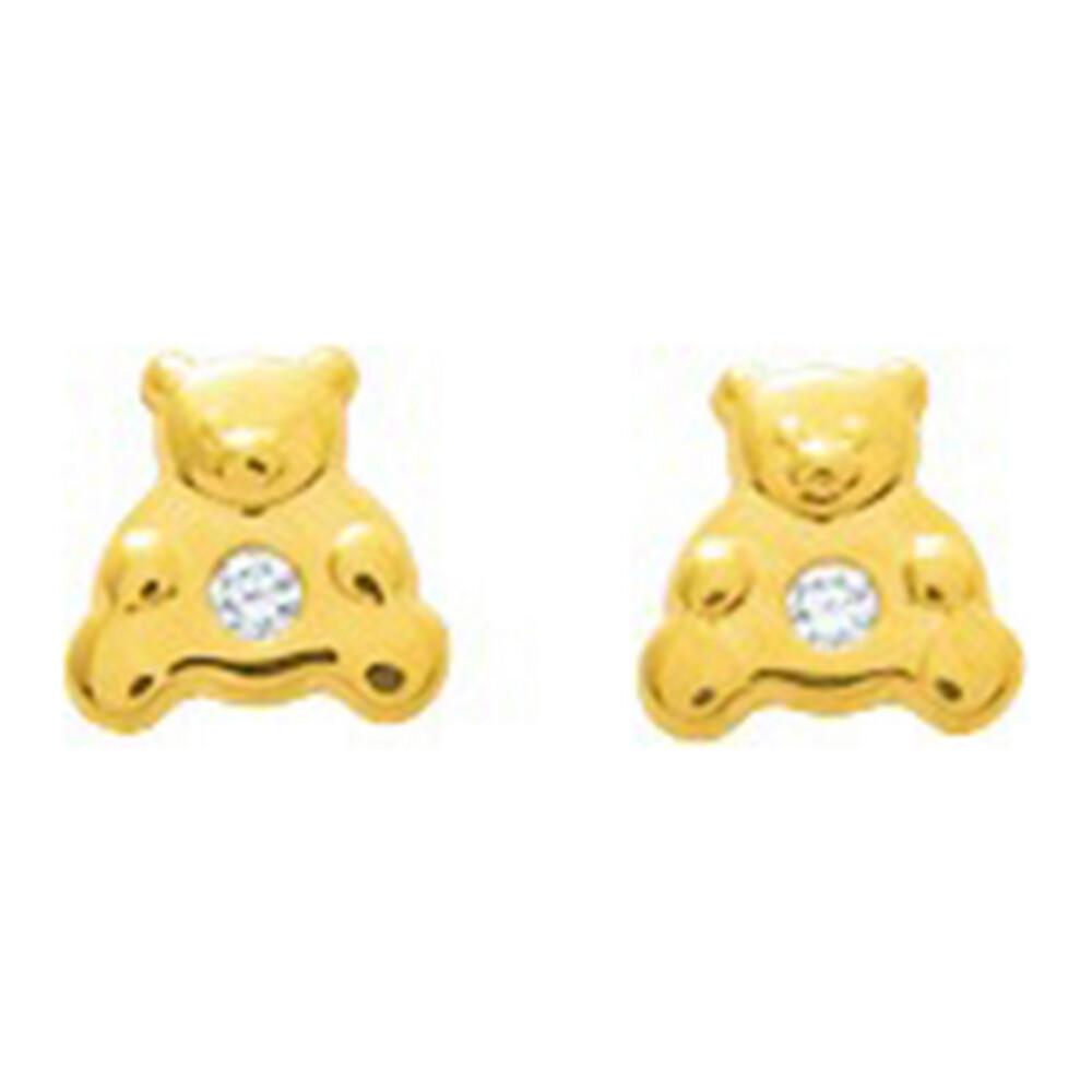 Photo de Boucles d'oreilles Ourson - Puces - Or jaune 18ct