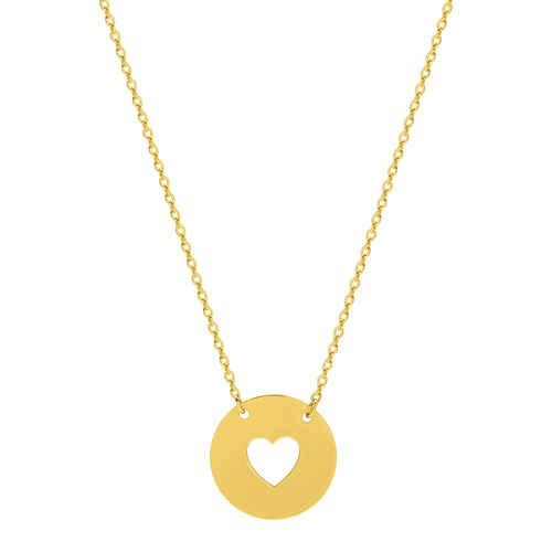 Photo de Collier chaine & médaille coeur ajourée - Or jaune 9ct