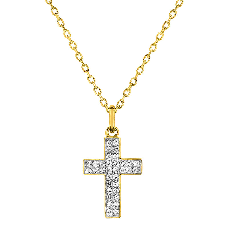 Photo de Collier chaine & croix zirconiums - Or jaune 9ct