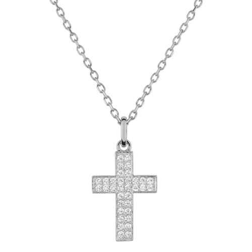 Photo de Collier chaine & croix zirconiums personnalisée - Or blanc 9ct