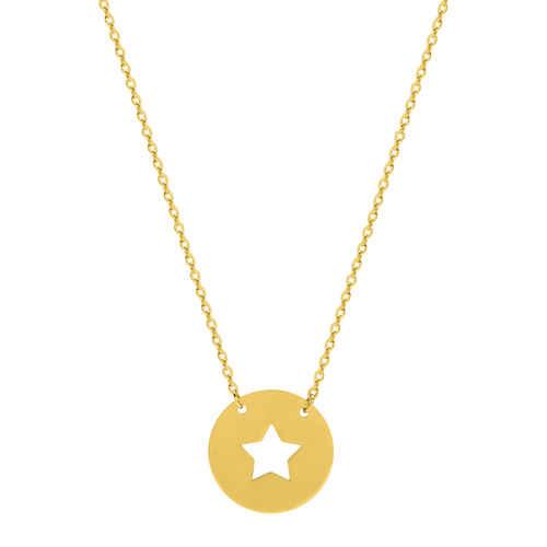 Photo de Collier chaine & médaille étoile ajourée - Or jaune 9ct