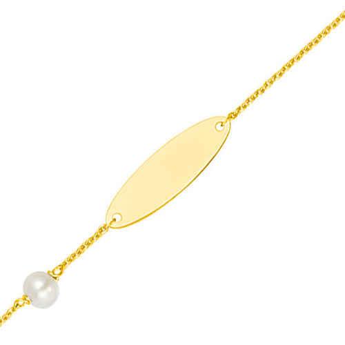 Photo de Gourmette bébé perle - Or jaune 9ct