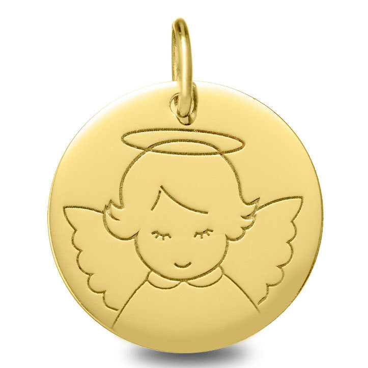 Photo de Médaille Ange auréolé - Or jaune 9ct
