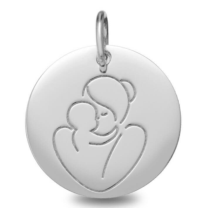 Photo de Médaille Vierge à l'enfant - Or blanc 18ct