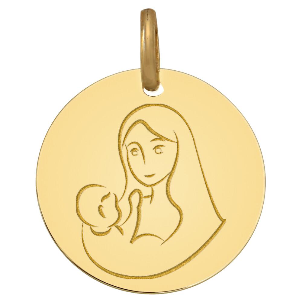 Photo de Médaille Vierge à l'enfant joyeux - Or jaune 9ct