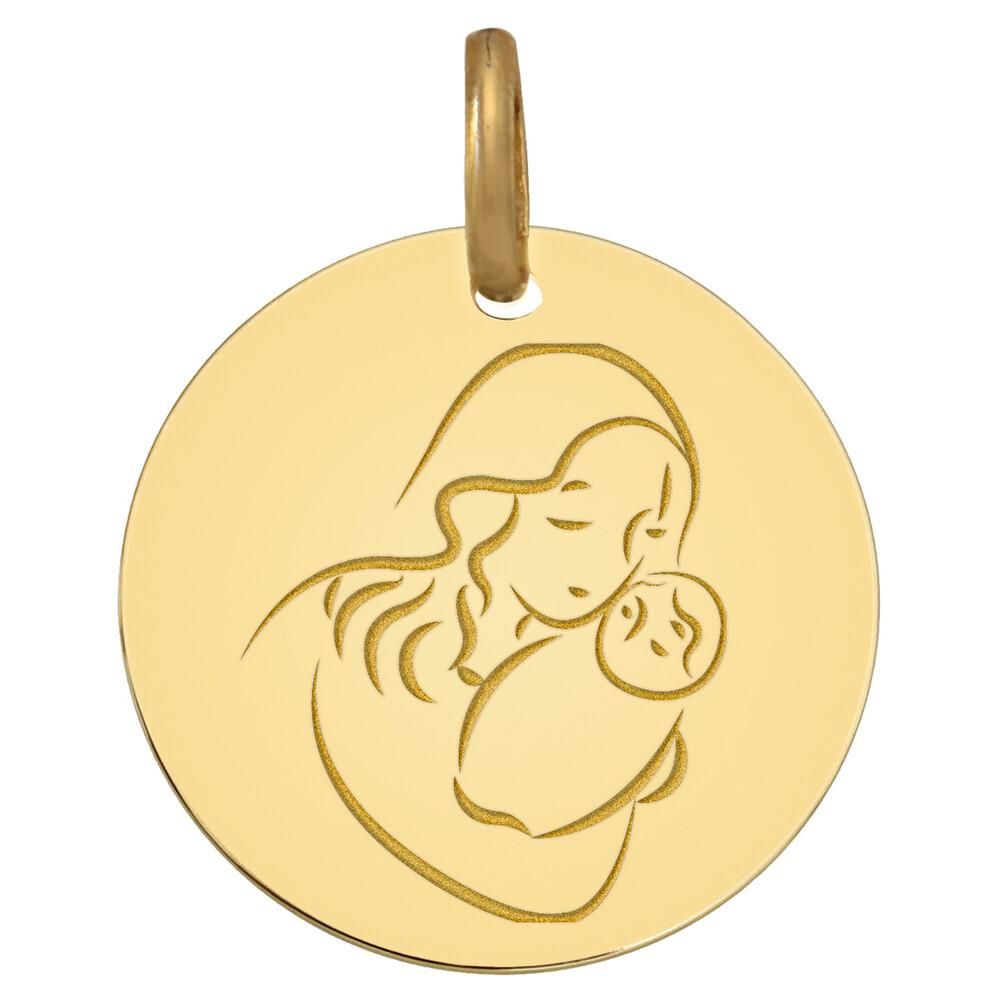 Photo de Médaille Vierge au divin enfant - Or jaune 9ct