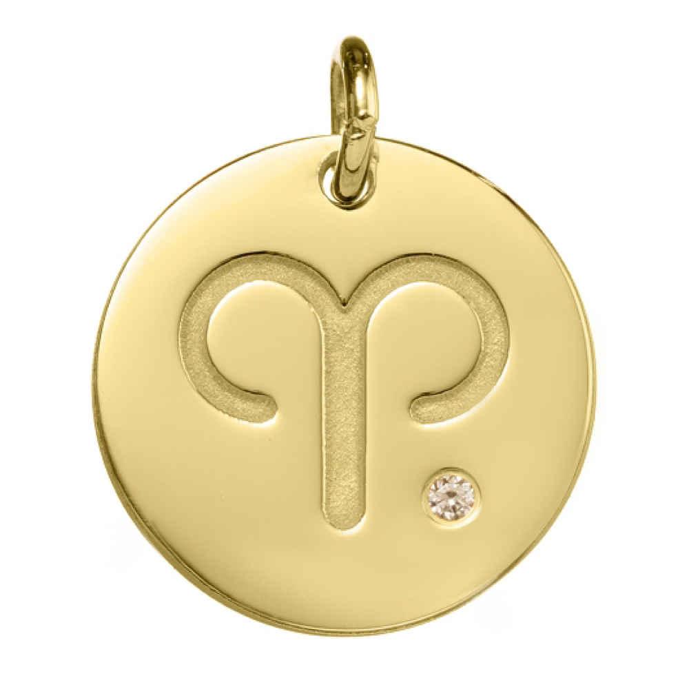 Photo de Petite Médaille signe du zodiaque - Or jaune 18ct & diamant