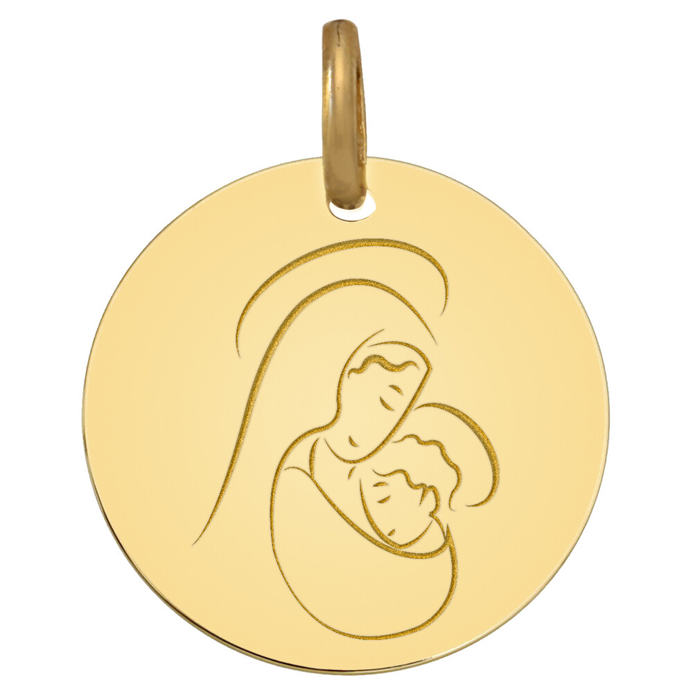 Photo de Médaille Vierge à l'enfant sacré - Or jaune 9ct
