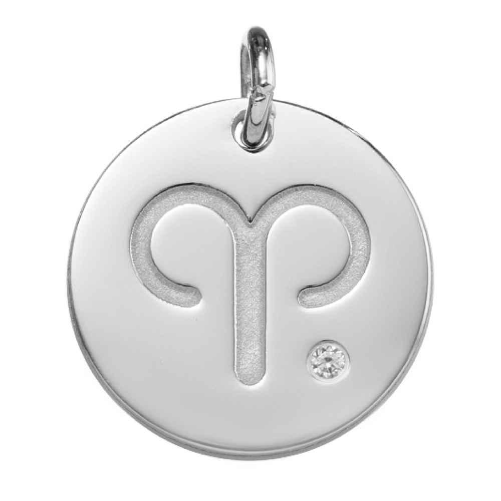 Photo de Petite Médaille signe du zodiaque - Or blanc 18ct & diamant