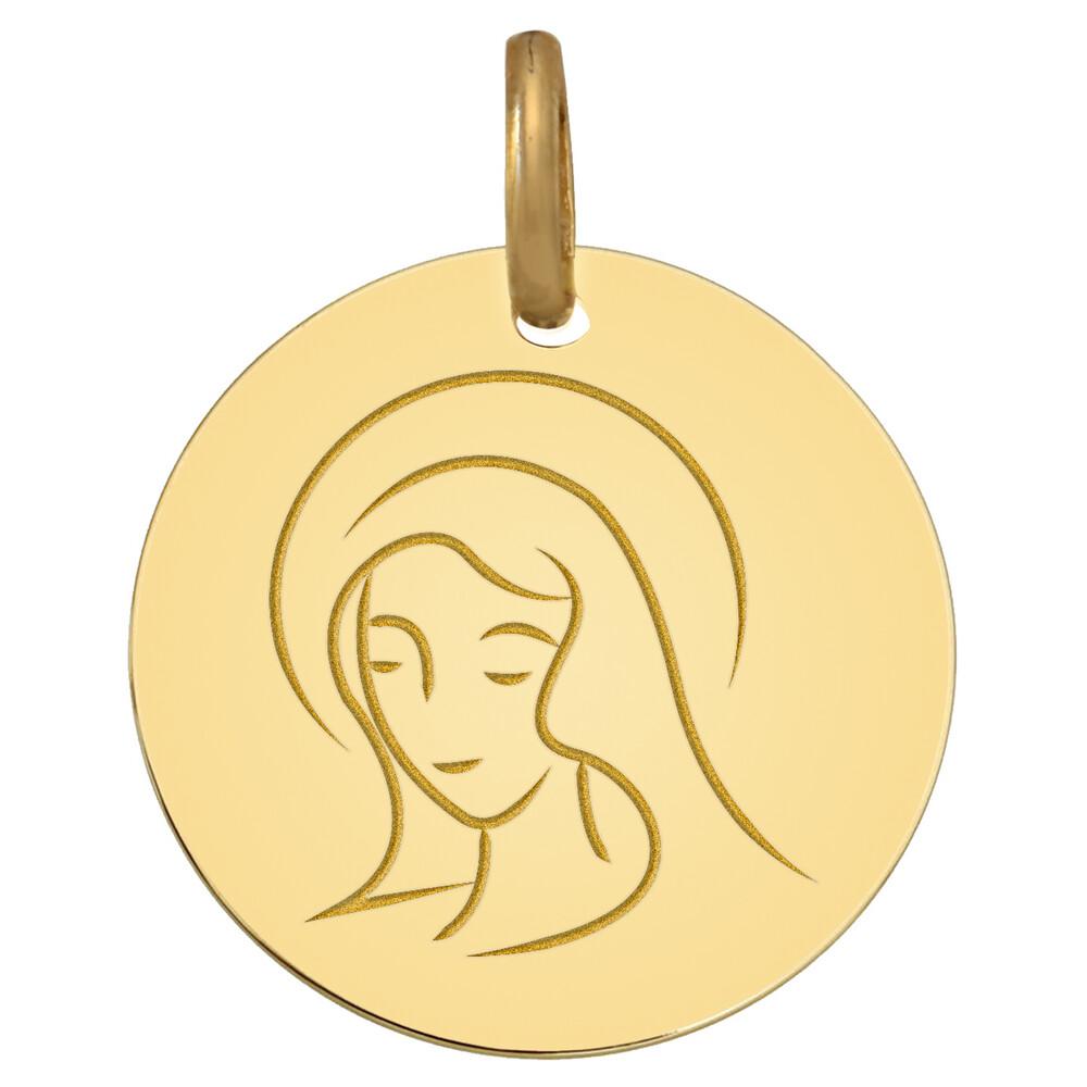 Photo de Médaille Vierge souriante - Or jaune 18ct