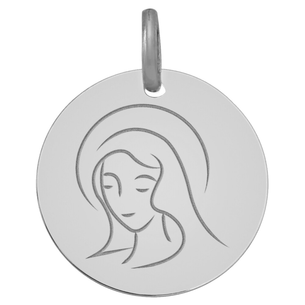 Photo de Médaille Vierge souriante - Or blanc 9ct