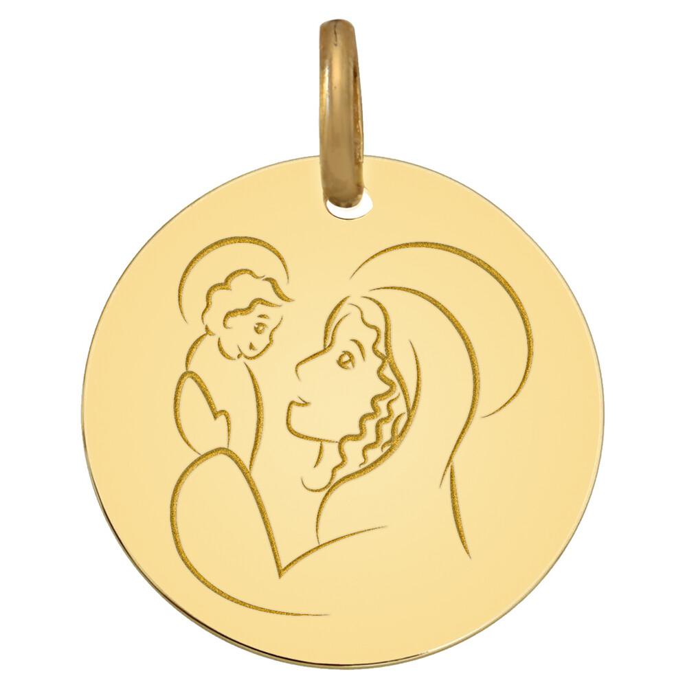 Photo de Médaille Vierge à l'enfant Prodige - Or blanc 9ct