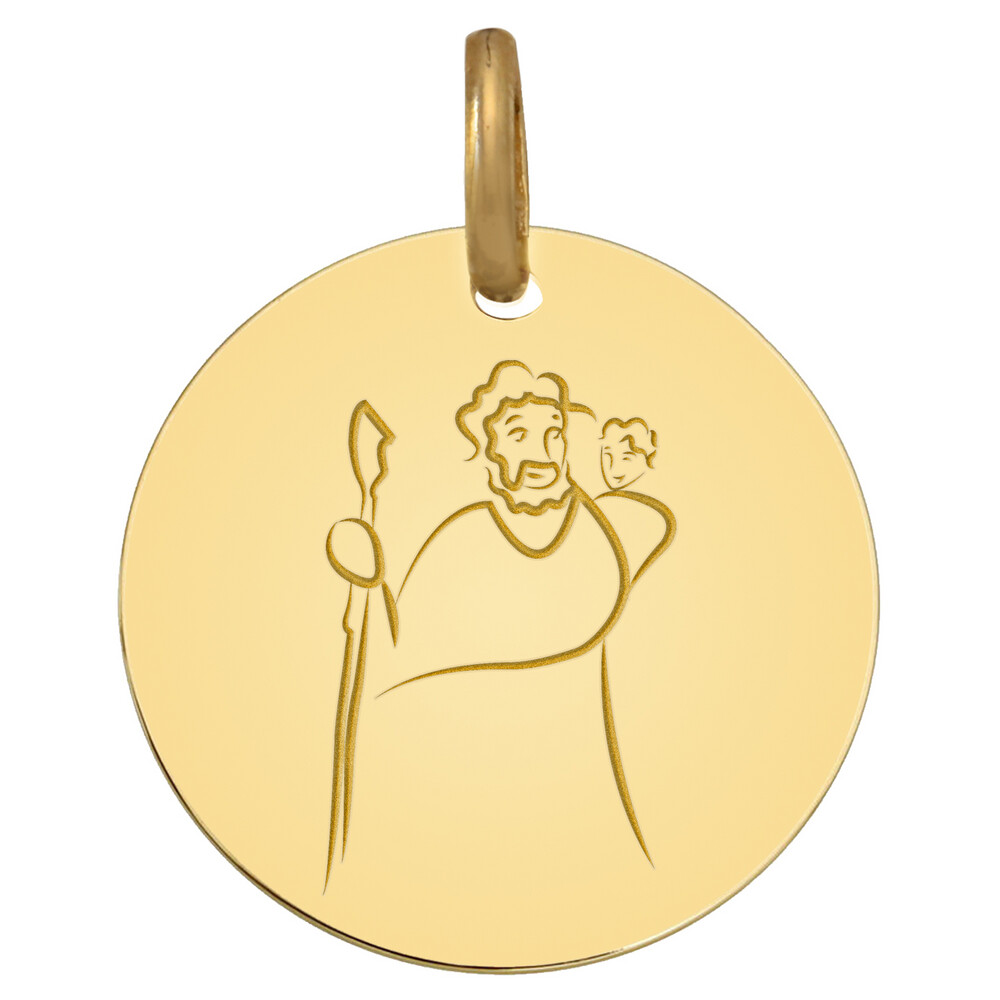 Photo de Médaille Saint Christophe - Or jaune 9ct