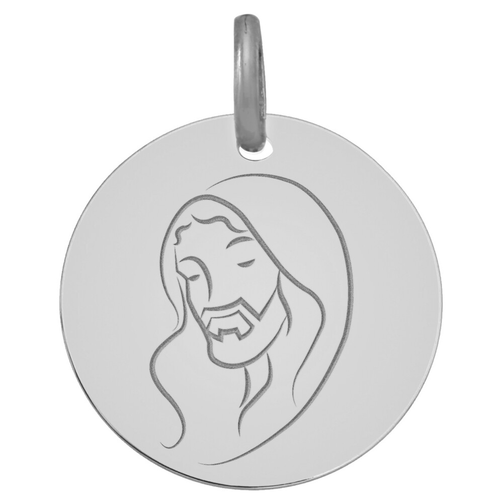 Photo de Médaille du Christ - Or blanc 9ct