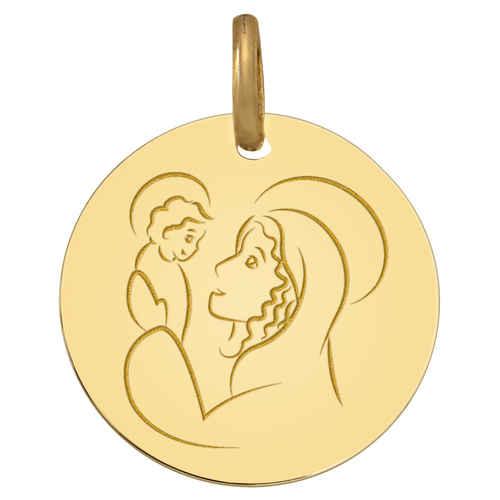 Photo de Médaille Vierge à l'enfant Prodige - Or jaune 18ct