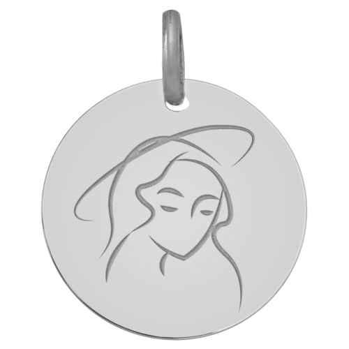 Photo de Médaille Vierge paisible - Or blanc 9ct