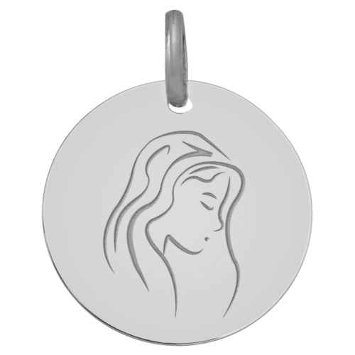 Photo de Médaille Vierge pensive - Or blanc 9ct
