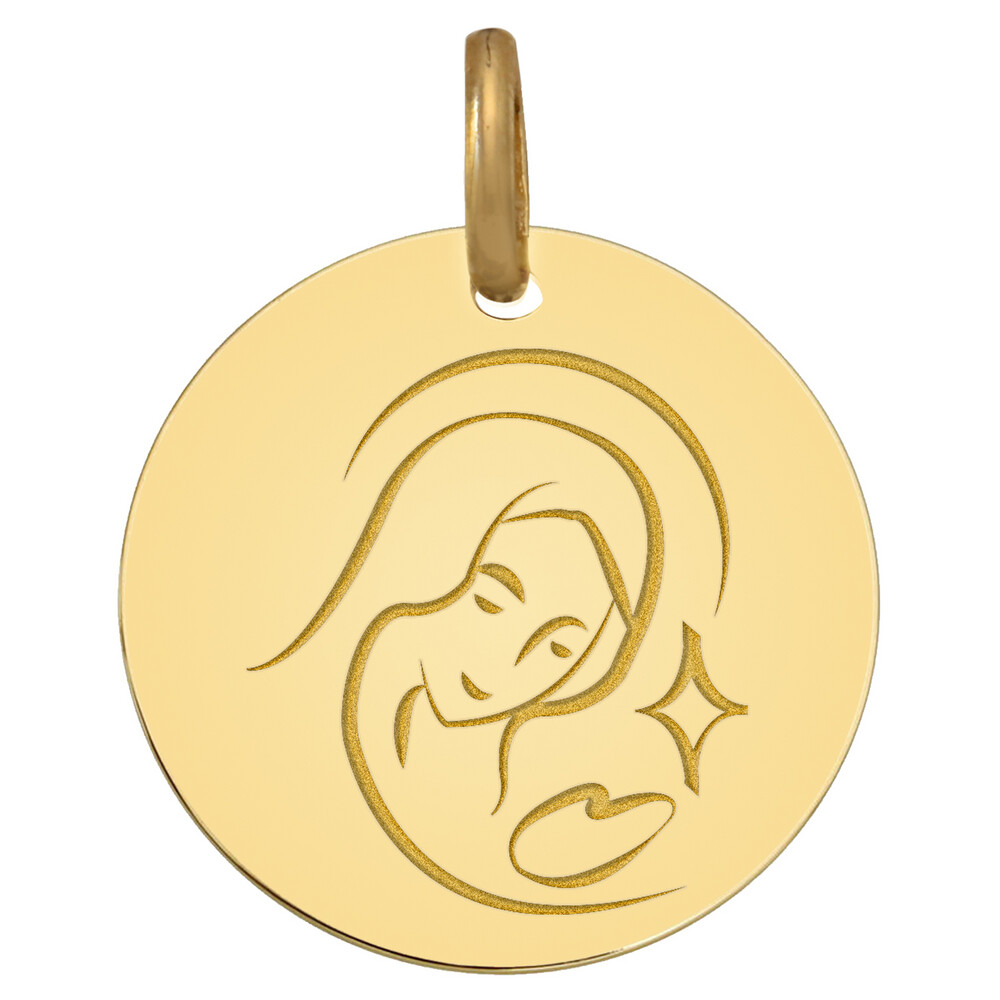 Photo de Médaille Vierge astrale - Or jaune 9ct