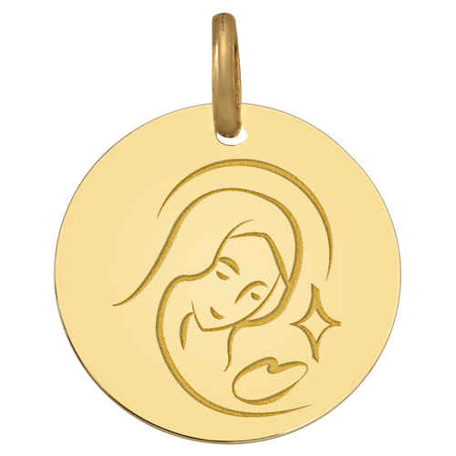 Photo de Médaille Vierge astrale - Or jaune 9ct
