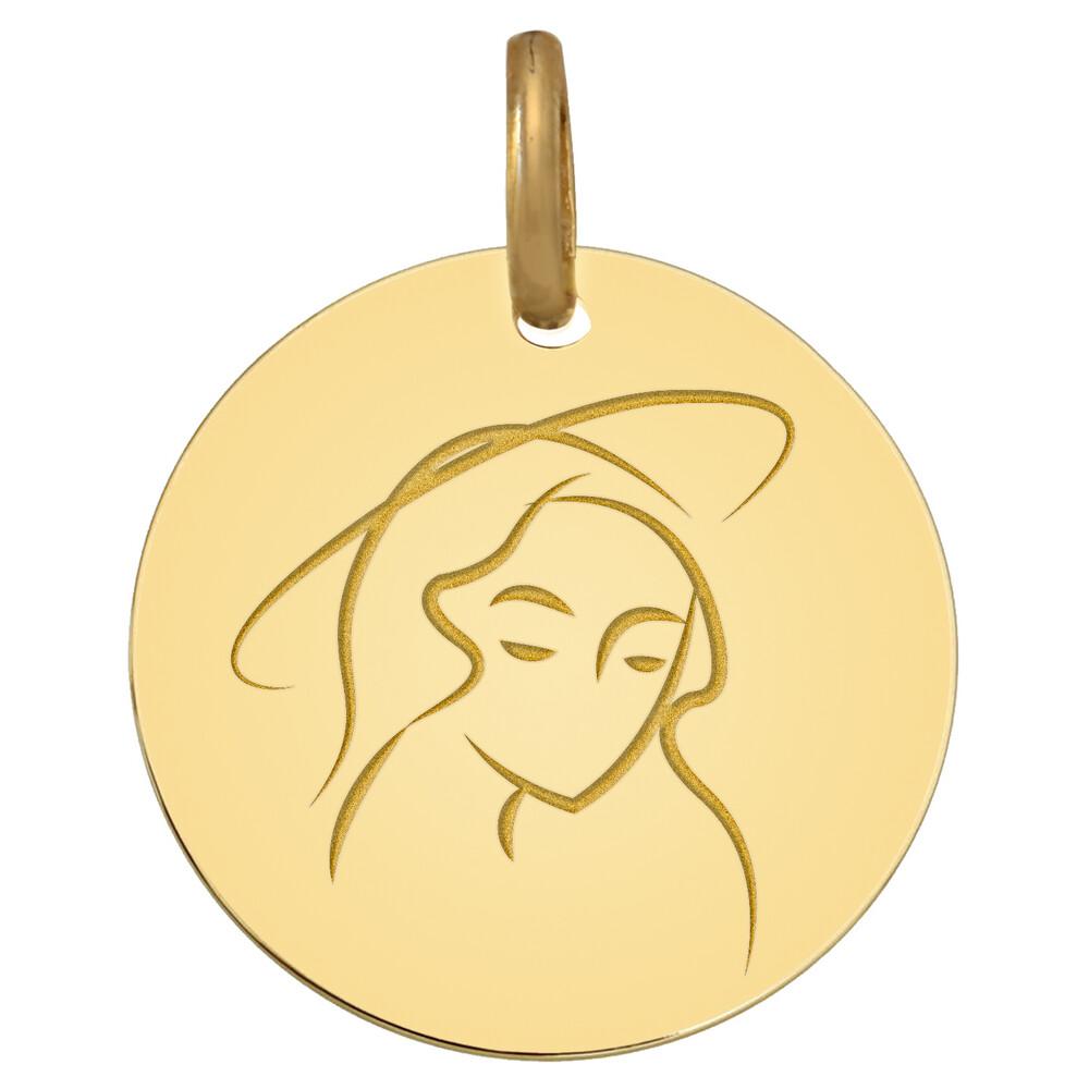 Photo de Médaille Vierge paisible - Or jaune 9ct