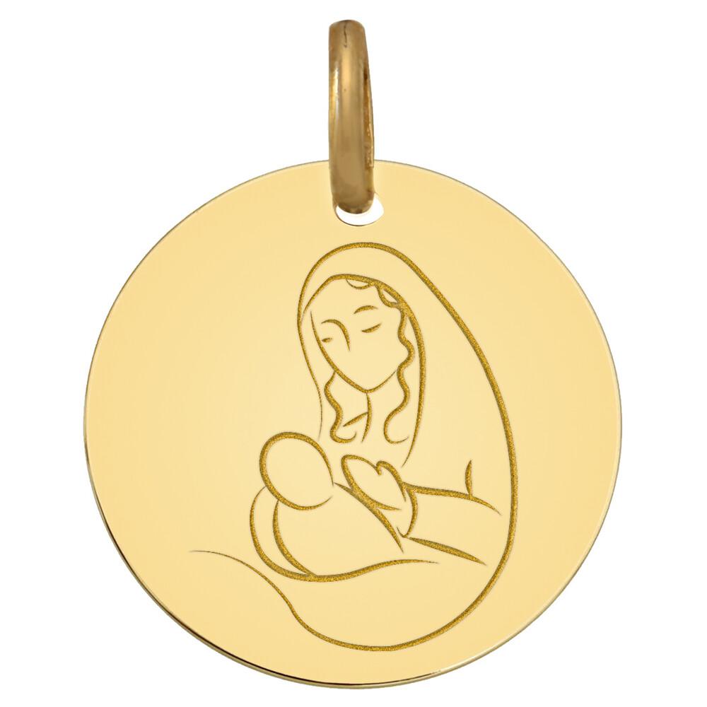 Photo de Médaille Vierge à l'enfant protégé - Or jaune 9ct