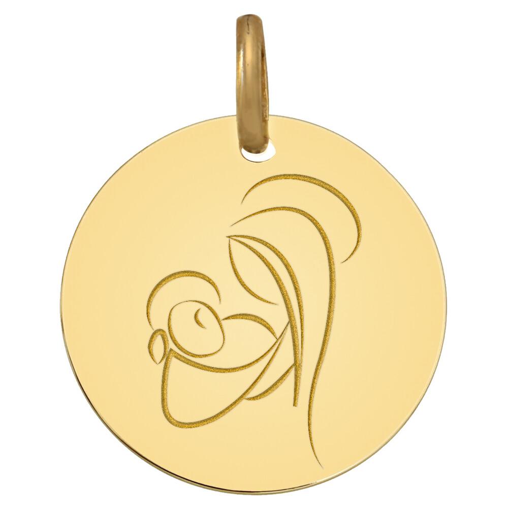 Photo de Médaille Vierge au nouveau né - Or jaune 9ct