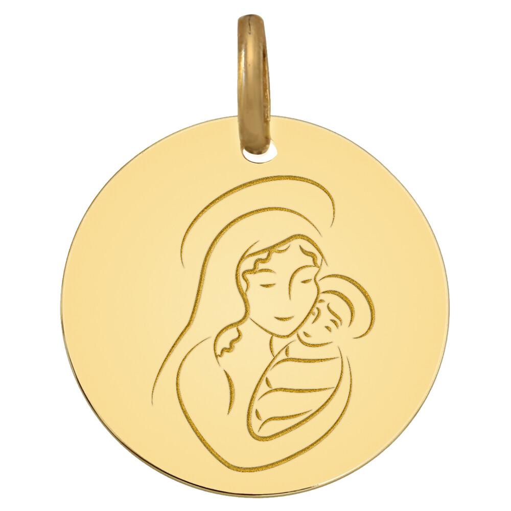 Photo de Médaille Vierge à l'enfant cajolé - Or jaune 18ct