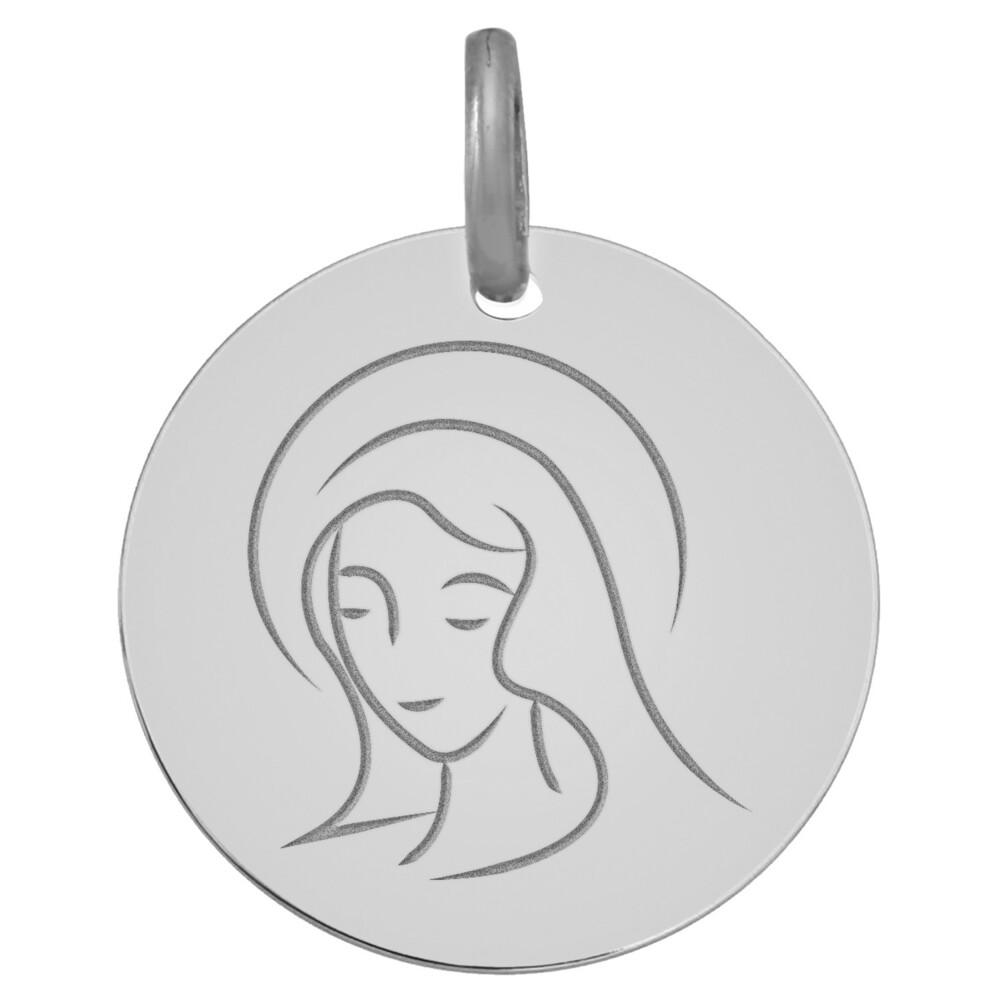 Photo de Médaille Vierge souriante - Or blanc 18ct